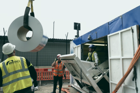 Innovative Mobile Roll Former Machine Used Onsite At Manchester Airport